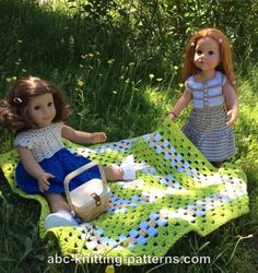 ABC Knitting Patterns - American Girl Doll Summer Meadow Afghan