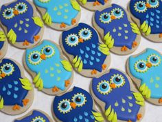 Owl Cookies Decorated Sugar Cookie Favors Owl by MartaIngros