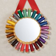 Creative DIY Mirror Frames Ideas - without the mirror a wreath Cool Mirrors, Diy Mirror, Mirror Crafts, Mirror Ideas, Round Mirrors, Spool Crafts, Sewing Crafts, Craft Room Decor, Handmade Crafts
