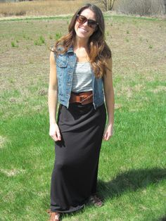 Maxi Skirt...jean vest with maxi