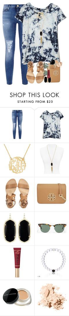 """""""comment your pinterest below and ill follow you"""" by smbprep ❤ liked on Polyvore featuring 7 For All Mankind, Current/Elliott, Kendra Scott, Sol Sana, Tory Burch, Madewell, Marc Jacobs and Bobbi Brown Cosmetics"""