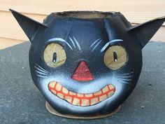 Antique Vintage Germany Halloween Black Cat Head Lantern
