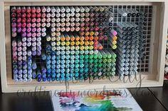 Marker Storage, Art Storage, Craft Room Storage, Craft Organization, Organizing, Craft Rooms, To Do Planner, T Craft, Copic Sketch Markers