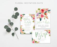 Floral wedding invitation suite watercolor by lexihoebingdesign