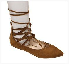 Bella Marie Angie-25 Women's pointy toe zip closure suede gladiator gilly tie wrap flats Tan 7 (*Partner Link)