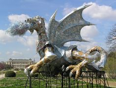 Dragon in the Botanical Garden.  The sculpture is made of recycled materials.