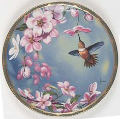 Pickard Gems of Nature: The Beautiful Hummingbirds - Rufous Hummingbird and Apple Blossoms - Artist: Cyndi Nelson