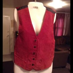 """100% Genuine LEATHER Vest Genuine Leather Vest by Arizona. Size Large. Pumpkin like color. Laying flat Arm to Arm is """"20. The length is """"21.5. In Good condition with Normal wear. Non smoking home. Please submit ALL Offers through the offer button ONLY. Will not negotiate price in the comment section. Arizona Jean Company Jackets & Coats Vests"""