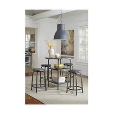 Ashley D560-13 Hattney Round Dining Room Counter Table - Gray