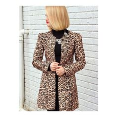 SheIn(sheinside) Yellow Long Sleeve Leopard Print Coat ($38) ❤ liked on Polyvore featuring outerwear, coats, multi, sexy trench coat, long sleeve coat, long trench coat, trench coat and long leopard coat