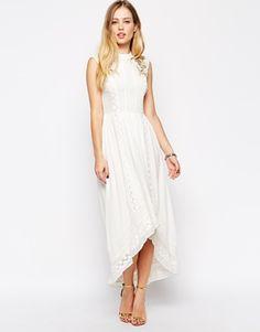 rehearsal? ASOS Premium Drop Hem Dress with Bird Embroidery
