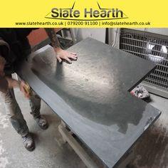 Slate Hearth Edge polishing by hand