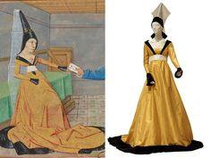 A középkori romantikus tragédia, Trisztán és Izolda 1468-os feldolgozásának egyik illusztrációját vették alapul a harmadik modellhez. A sárga, fényes selyem satung ruhán a nyakkivágás körül és az ujjon széles, fekete paszomány látható. A forrásom szerint az ilyen ruha hátul is legalább olyan mélyen ki volt vágva, mint elöl. A ruha legérdekesebb eleme a fátyollal borított hennin