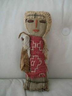 PERUVIAN South American Antique Chancay Cloth Burial DOLL Mother Child Folk Art