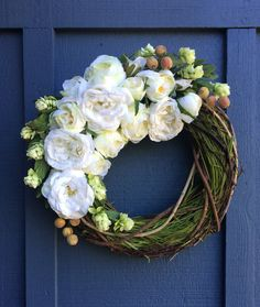 Grass 'n Rose Wreath / Spring Wreath / Grass by SouleHomeDecor