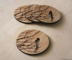 Wintersong Coasters - Laser cut from Birch - Shiny Rabbit Shop
