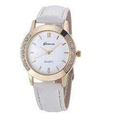 Women Geneva Watch Fashion Leather Stainless Steel Analog Quartz Wrist Watches