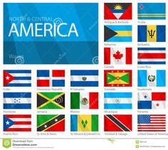 Bandeiras De Ondulação Do Norte & De Países Da América Central Imagem de Stock - Imagem: 9091761