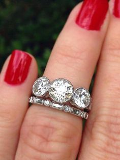Three stone engagement rings - A modern day makeover antique cushion ring by CvB) – Three stone engagement rings Three Stone Engagement Rings, Three Stone Rings, Diamond Rings, Diamond Jewelry, Diamond Stone, Gold Jewellery, Jewlery, Sapphire Rings, Solitaire Rings