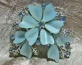 Vintage Ice Blue Thermoset Rhinestone Brooch