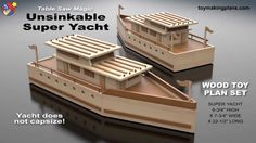 Wood Toy Plans - Unsinkable Super Yacht - YouTube Popsicle Stick Boat, Popsicle Stick Crafts, Craft Stick Projects, Craft Stick Crafts, Fall Crafts, Table Saw, Diy Table, All You Need Is, Ice Cream Stick Craft
