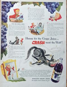 Welch s Grape Juice  print ad  Rare 50 s Color Illustration  little red riding hood  Life Mag  Art