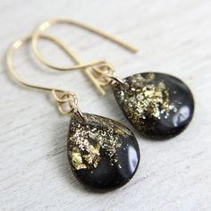 black with gold teardrop earrings with on 14k gold by tinygalaxies, $24.00