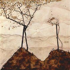 Egon Schiele - Autumn Sun I Art Print. Explore our collection of Egon Schiele fine art prints, giclees, posters and hand crafted canvas products Gustav Klimt, Egon Schiele Landscape, Painting & Drawing, Painting Prints, Art Print, Landscape Arquitecture, Oil Canvas, Canvas Art, Alphonse Mucha