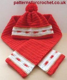 Bobble hat  scarf set free crochet pattern from http://www.patternsforcrochet.co.uk/adult-bobble-hat-scarf-usa.html #freecrochetpatterns #patternsforcrochet