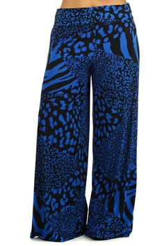 Plus Size Summer Animal Print Wide Leg Fold Over High Waist Palazzo Lounge Pants