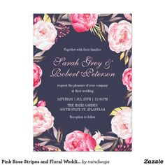 Pink Rose Stripes and Floral Wedding Invitation