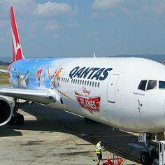 Qantas B767-300 Disney Plane, Perth Airport, @alec_aviation_