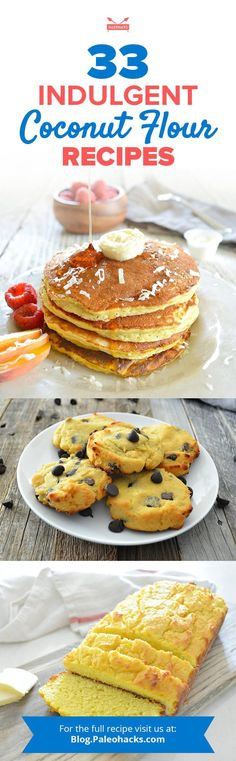 Try our 33 delicious Paleo coconut flour recipes. You'll find everything from muffins, bread, cakes, cookies, and the benefits of coconut flour. Coconut Flour Brownies, Coconut Flour Cookies, Coconut Pancakes, Coconut Flour Pancakes, Coconut Flour Recipes, Gluten Free Recipes, Low Carb Recipes, Cooking Recipes, Paleo Donut