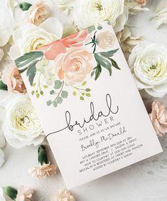 Bridal Shower Invitation template, Peach Floral Invitation Printable, Bridal Shower Invite, Instant Download, Editable PDF, WLP702
