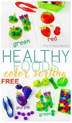 FREE Fruit and Veggie Color Sorting Mats - Stay At Home Educator # Nutrition pictures FREE Fruit and Veggie Color Sorting Mats Free Fruit, Fruit And Veg, Healthy Food Choices, Healthy Recipes, Healthy Bodies, Healthy Habits, Foods That Contain Calcium, Dramatic Play Centers, Nutrition Activities