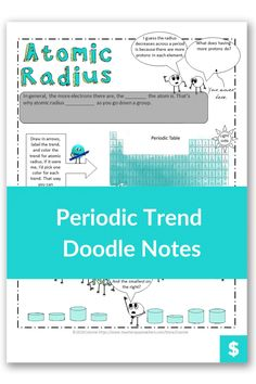 Are you looking for a fun and creative way to teach periodic trends to high school students? Or even make it easy for homeschool moms to learn? These notes illustrate the step by step way to practice different types of problems like atomic radius, ionic radius, and electronegativity. Plus, they are color coded to make learning easier! #chemistry Middle School, Back To School, High School Students, Anchor Charts, Chemistry, Worksheets, Periodic Table, Homeschool