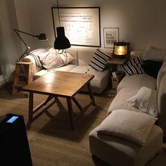 piyohopさんの、Overview,ソファー,無印良品,照明,ポスター,額,IKEA,棚,ソファ,無垢,ライティング,ジェルデ,男前,60についての部屋写真
