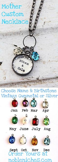Our custom Mother's or Grandmother's Necklace can be made in Vintage Style Gunmetal or Silver.  Choose names and birthstones.  Perfect, personal gift she'll adore from www.nobleniches.com. Starting at $45.00 #mother #newmom #valentinegift #mothersdaygift #mothercharm #mothernecklace #grandmother #grandmothercharm #grandmothernecklace