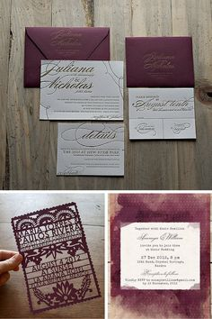 Wedding invitations, stationary, watercolor invites, laser-cut invitations, Pantone color of the year, Marsala