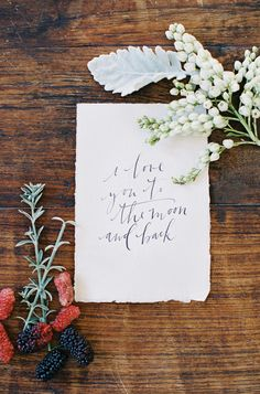 #calligraphy, #love-letters  Photography: Feather + Stone - featherandstone.com.au  Read More: http://www.stylemepretty.com/2014/02/10/rustic-chic-australian-shoot-at-gurragawee/