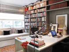 Home office, marble-top desk for two people
