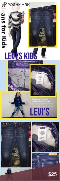 Levi's Girls 710 Knit Super Skinny Jean SZ 6X dark Levi's knit jeans for girl long sleeve provides classic Levi's style with superior comfort it looks like a jean but feeLong sleeve like her favorite sweatpants soft stretchy fabric will stay with her from one activity to the next built to last these jeans are a must have for her everyday wardrobe levis Bottoms Jeans