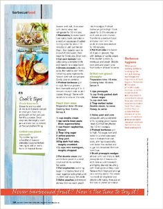 Clipped from Better Homes and Gardens Glazed pineapple Barbecue Recipes, Better Homes And Gardens, Pineapple, Deserts, Home And Garden, Peach, Food, Traeger Smoker Recipes, Pinecone