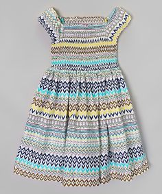 Look at this Poco & Picotine Green & Blue Geometric Dress - Girls on #zulily today!