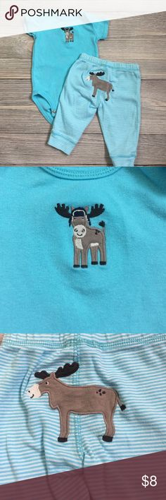 Carter's 3 month Moose Outfit Carter's boys moose outfit.  Includes blue short sleeved onesie with moose embroidery, and blue striped pants with moose on the butt. Worn once.  Smoke free/pet free home. Carter's Matching Sets