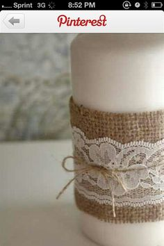 Burlap lace candle … #Rustic #Country #Wedding ideas for brides, grooms, parents  planners https://itunes.apple.com/us/app/the-gold-wedding-planner/id498112599?ls=1=8 … plus how to organise an entire wedding, within ANY budget ♥ The Gold Wedding Planner iPhone App ♥  http://pinterest.com/groomsandbrides/boards/  For more #Wedding #Ideas  #Budget #Options ... #Twine #Twigs #Burlap #Woodlands