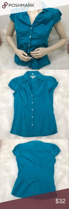 Banana Republic Top Description: Top is not as blue as the picture it is more of a darker teal.  ⚠️I always look through each item throughly once received and right before shipping, but things can be missed. Just let me know, so I can improve.⚠️  Measurement: Length from back of shirt top to bottom is 25in Arm pit to arm pit is 15.5in  ⚠️all measurements are an estimate⚠️  🚫NO TRADES/NO HOLDS🚫  Please ask questions❓  💜Thank you for checking out my closet and don't be afraid to submit an…