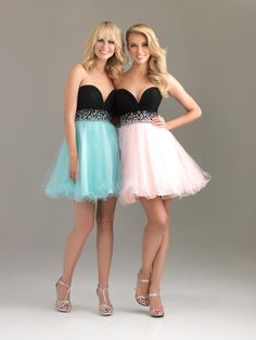 pink and blue bridesmaid dresses | blue-and-pink-and-black-ball-gown-sweetheart-mini-length-zipper ...