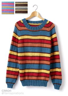 Adult Knit Crew Neck Striped Pullover