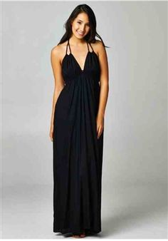 black maxi dress, back out, back strap dress